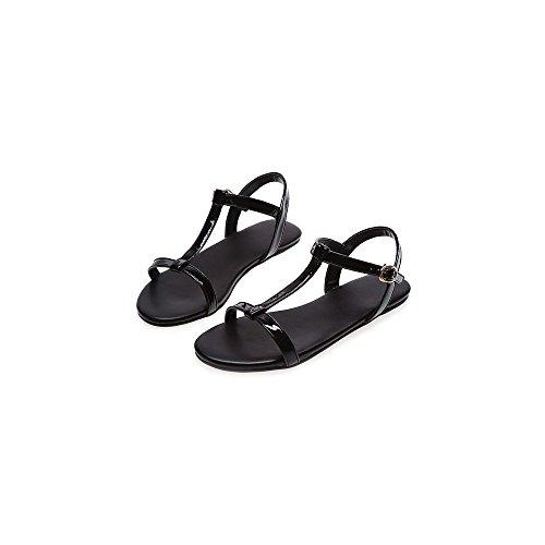 Femme et Fille Sandales Plates Simple Boucle Noir