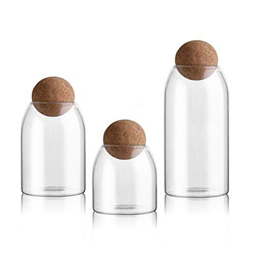 BESTONZON Glas Vorratsglas mit Holzdeckel Ball Clear Candy Jar zum Servieren von Tee Kaffee 3tlg (Kanister Ball-küche)