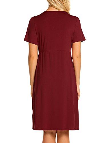 Umstandskleid Elegant Lang Stillkleid Festlich Knielang Schwangerschafts Kleid Umstandspyjama - 5
