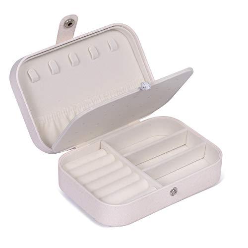Huker scatole portagioie gioielli, portagioie da viaggio da donna 2 strati portable gioielleria per anelli orecchini collane bracciali, 16,5 x 11,5 x 5,5 cm (bianco)