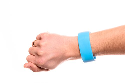 Fitness Silikon Schlüssel-Armband Wertsachen Sport Laufen Joggen Schwimmen Running Outdoor Wasserfest Aufbewahrung Schlüssel Geld Münzen (Blau, Größe M)
