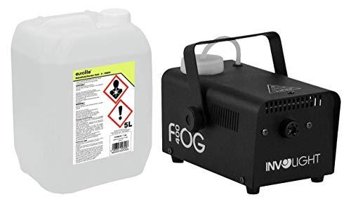 Involight FOG 400 Nebelmaschinen Set (das ideale Partyset: Mini Nebelmaschine 1,5m Ausstoßweite & Fernbedienung, inkl. 5L Nebelfluid, auf Wasserbasis & geruchlos)
