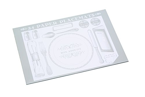 Kitchen Craft KCPMAT24 Set de Table, Lin, Blanc/Gris, 28x18x18 cm