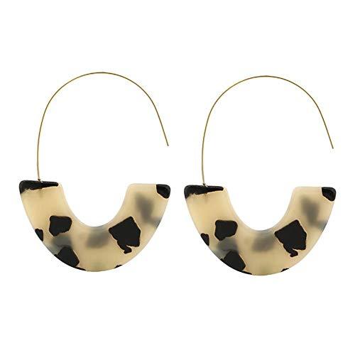 Qinlee Leopard Ohrringe für Damen mit U-förmige Design Anhänger Frauen Mode Vintage Bohemian Lange Quaste Ohrringe Kreis Schmuck Anhänger Dekoration für Frau-Beige