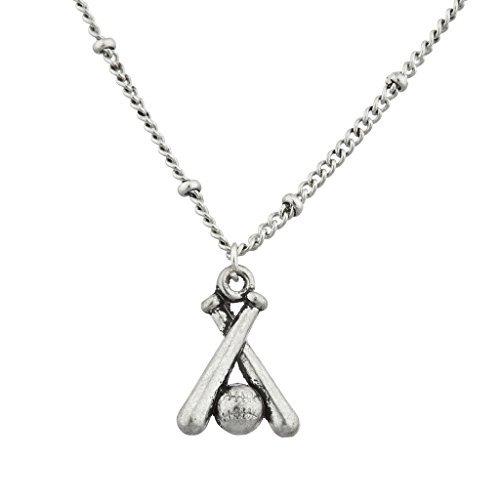 LUX Zubehör Burnish Silber Baseball Schläger und Ball Sport Charm Halskette