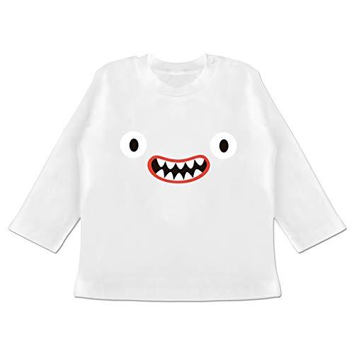 Karneval und Fasching Baby - Monster Kostüm Reißzähne - 18-24 Monate - Weiß - BZ11 - Baby T-Shirt Langarm