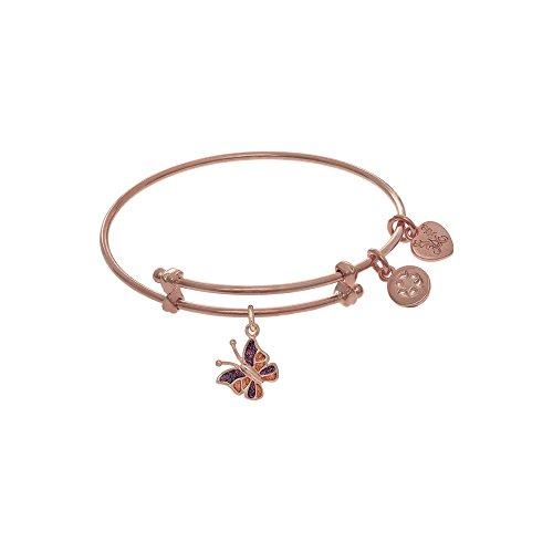 Rosa-acabado-ampliable-Tween-latn-brazalete-con-esmalte-mariposa-encanto-en-rosa-acabado-pulsera