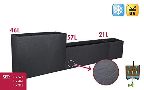 Kreher 3 Stück XXL Design Pflanzkästen + Cube, Sichtschutz, Terrassentrenner, rechteckig der Serie Stone in Anthrazit, aus robustem Kunststoff (57, 46 und 21 Liter)