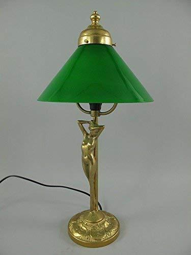 linoows Jugendstil Tischlampe, Messing Lampe, Grüner Schirm, Schreibtischlampe
