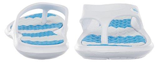 BRANDSSELLER Damen Zehenpantolette Badeschuh Badelatschen Badeschlappen Strandschuh - mit Streifen - in verschiedenen Größen und Farben Weiß/Hellblau
