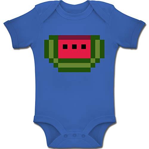 Shirtracer Karneval und Fasching Baby - Pixel Melone - Karneval Kostüm - 6-12 Monate - Royalblau - BZ10 - Baby Body Kurzarm Jungen Mädchen