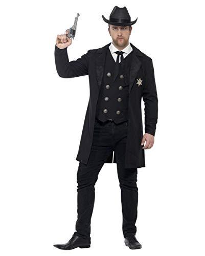 (Western Sheriff Kostüm mit Hut | Plus Size Herrenkostüm XL)