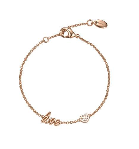 ESPRIT Damen-Armband JW52882 ROSE Messing teilvergoldet Zirkonia transparent 18 cm-ESBR01795C160