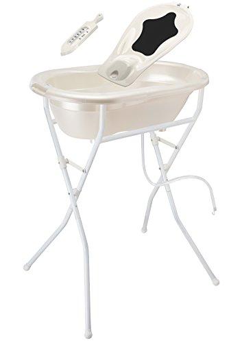 Rotho Babydesign Badelösung TOP / Babybadewanne mit Ständer 98 cm hoch, einklappbar / Baby Badeset inkl. Wanneneinlage, Ablaufschlauch und Thermometer / perlweiß creme