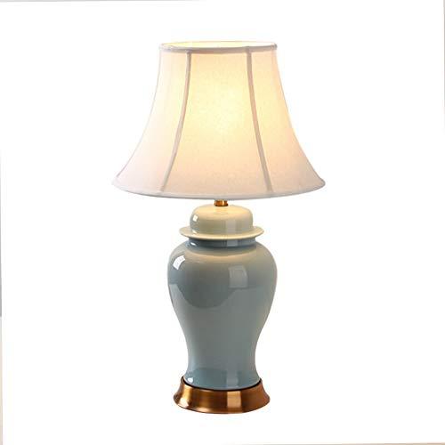 Lampe de bureau Lampe de table en céramique Salon Décor Chambre À coucher Table De Nuit Lumières Tissu Ombre Base De Cuivre Décoration