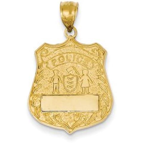 14k Grande Distintivo della polizia Ciondolo da UKGems - 14k Large Police Badge Pendant by (Distintivo Della Polizia Pendente)