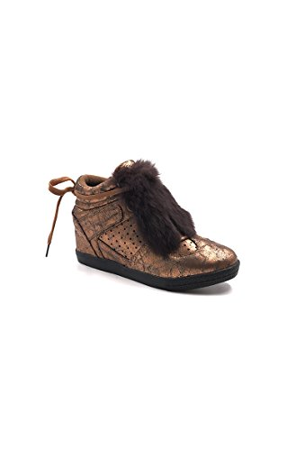 CHIC NANA . Chaussure Mode Baskets femme compensée style similicuir métalisé. Bronze