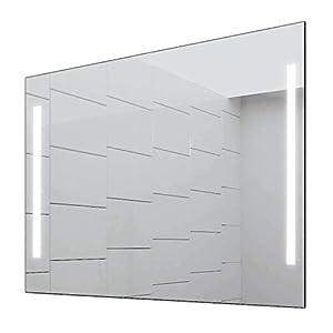 Concept2u® Badspiegel Enjoy Badezimmerspiegel mit 4.000K neutralweißer Beleuchtung 90 cm Breit x 70 cm Hoch Licht Links+RECHTS