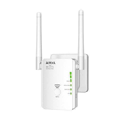 Wlan Repeater AOYOOL N300 Universal Wlan Hotspot Signal Verstärker(Repeater/Router/AP 2.4GHz 300Mbps),WiFi Range Extender(Flexible Externe Antennen,WPS,Kompatibel mit allen WLAN Geräten) Weiß