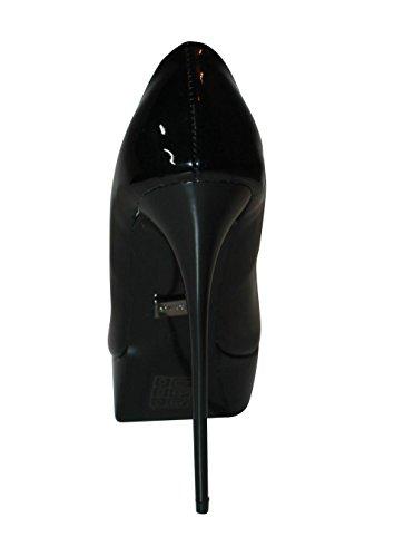 Erogance - scarpa con tacco alto e plateau, rivestimento interno in pelle, misura 37 - 46 / A6436 Black