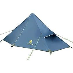 GEERTOP Außenzelt Kuppelzelt Zelt Minipack 20D Ultralight - 210 x 90 x 105 cm (790g) -1 Personen 3 Saison für Camping Wandern Klettern (nicht im Lieferumfang enthalten) (Eisenblau, Außenzelt)