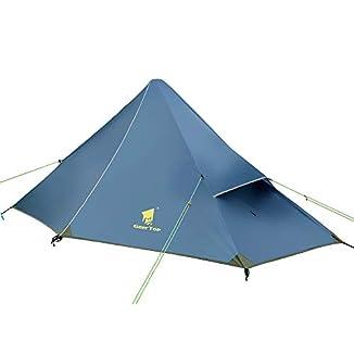 tienda campaña GEERTOP-1-persona-3-temporadas-20D-Tienda-de-campaa-210-x-90-x-105-cm-con-mochila-ultraligeria-para-acampaada-senderismo-escalada-poste-NO-incluido-Hierro-azul-Mosquitera