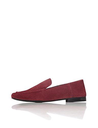 FIND Slipper Damen aus Leder mit flachem Blockabsatz, Rot (Burgundy), 41 EU