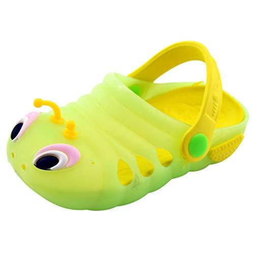 Elsta Unisex Kinder Clogs Sommer Strand Badeschuhe Pantoffeln Pantoletten Atmungsaktiv Hausschuhe Latschen Rutschfeste Slippers mit Cartoon Raupe für Jungen Mädchen
