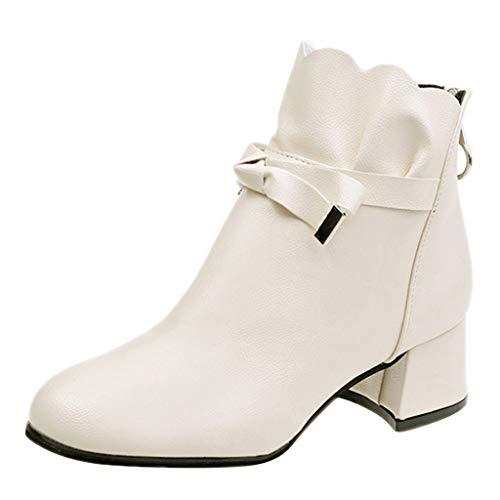 Oksea Ankle Short Boots Damen Chelsea Boots Frauen Spitzen Bowknot Chunky Stiefel Halbstiefel Stiefelette Bootie Schlupfstiefel hoch Blockabsatz