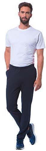 Basketball-baumwoll-jersey (Morgenstern Hausanzugshose Herren aus Baumwolle Joggerpants Jersey Hose stilvoll modern für Basketball in M in Marine Schlaf-Hose Herren dunkelblau)