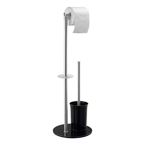 Mari Home Toilettenpapier-Halter mit Ständer und WC-Bürste, freistehend, aus Edelstahl, chrombeschichtet, mit Hartglas, schwarz