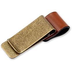 Retro Leather Clip Elegante Metal Marcapáginas Calidad Pulido Monedero Clip Crédito Tarjeta Soporte con Bolígrafo Loop Color Cobre y Marrón
