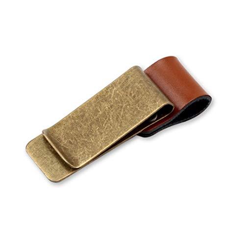 Retro Leder Clip Stilvolle Metall Lesezeichen Qualität poliert Geld Clip Kreditkarte Klemmhalter Halter Halterung mit Stiftschlaufe kupferartig Farbe und braun -