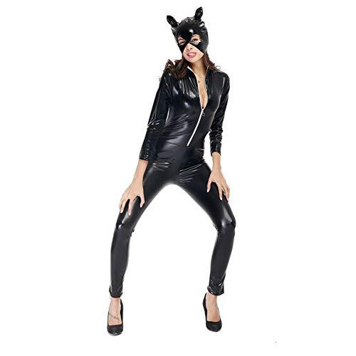 Catsuit Sexy Damen-Kostüm Lack Katze Halloween Ganzanzug Bodysuit Clubwear für Cosplay Party, Größe:M-3XL (Katze Halloween Bodysuit)