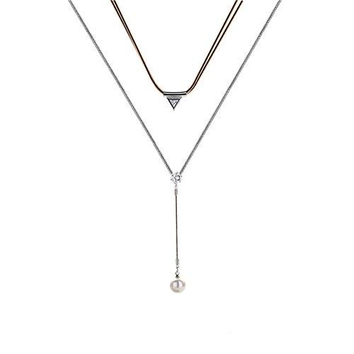 MASOP Choker Set Doppel Schicht Halsketten mit Triangel Zirkonia und Perle anhänger Stretch Lang Bohemian Halsband Silber und Gold-Ton Kropfbänder (Zwei-ton-gold-schmuck)