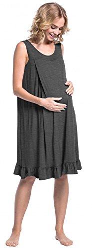 Happy Mama. Damen Umstands-Nachthemdchen Stillfunktion Schwangere Ärmellos. 989p Graphit Melange
