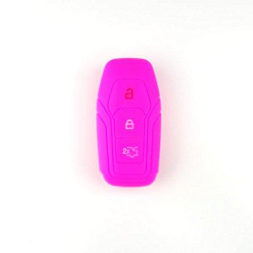 Brightparts® Silikon Schlüsseletui Hülle Etui Schlüssel Cover für Ford mit Power-Startfunktion oder Key Free-System (Pink)