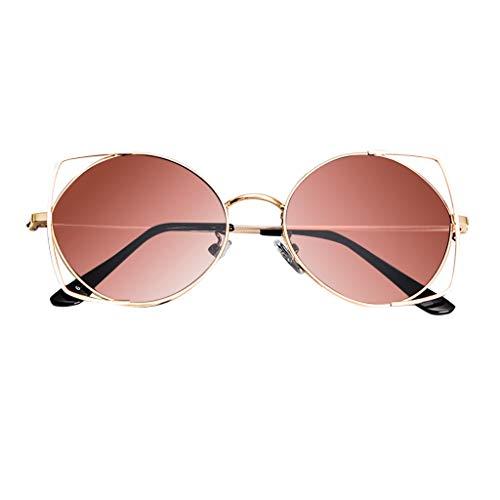 Hhyyq Sonnenbrillen für Frauen, Mode-Klassiker-Weinlese-wilder Trend-Strand-Katzenauge verspiegelte flache Linsen hohle Katzenohren-runder Rahmen-Metallrahmen-Sonnenbrille Anti-UV(Braun)