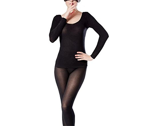 hippolo Damen Rundhalsausschnitt Top & Bottom Ultra Dünn Thermo-Unterwäsche (One Size) schwarz