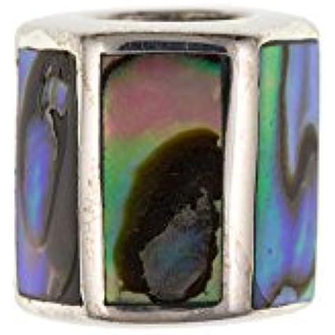 Sterling Argento Abalone rettangolare perline