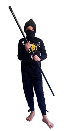Ninja Kinderkostüm - Schwarz, Gelb - S - Gr. 116 - 3-5 (Echte Kostüme Ninja)