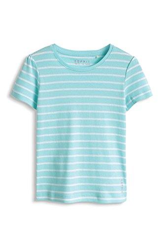 ESPRIT Mädchen T-Shirt in Streifen-Optik, Einfarbig, Gr. 104 (Herstellergröße: 104/110), Blau (TURQUOISE BREEZE 522)