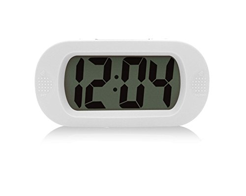 Simple Silent LCD Digital Large Screen Alarm Clock Snooze/light function Batteries Powered with Silicone Protective Cover (White) by BAAKYEEK Battery Powered Digital Clock