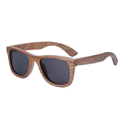 Zbertx Walnuss Holz Brille Herren Desinger Sonnenbrille Holz Frauen Polarisierte Gläser Stil Brillen Eyewear,schwarz