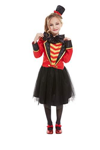 Smiffys 52169M Deluxe Ringmaster Kostüm, Mädchen, Rot, Größe M, 7-9 - Ringmaster Kostüm Kind