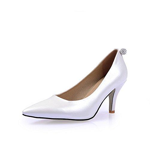 Adee Damen Strass Komfort Polyurethan Pumpen Schuhe Weiß