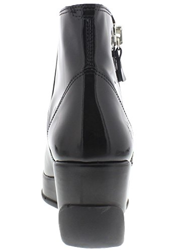 Fly London Womens Hulk 795 Patent Wedge Leather Boots Black Patent