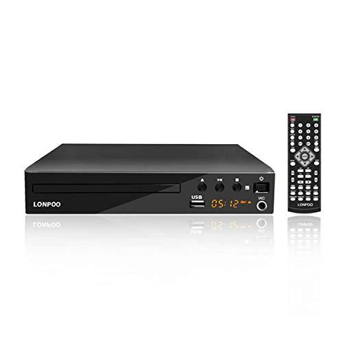 LONPOO Kompakt DVD-Player Multi-Regions Frei mit Ports HDMI/ Cinch/ USB-Eingang/ Karaoke MIC, LED-Anzeige und Fernbedienung -schwarz