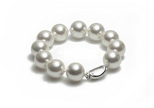 Schmuckwilly Muschelkernperlen Perlenarmband Perlen Armband - MuschelkernPerlen Armband weiß Hochwertige 20cm mb4017-20 (16mm)