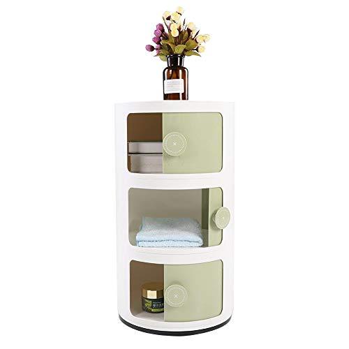 GOTOTOP Container Componibili, 3 Schichten runder Kunststoff Rollcontainer Nachttisch Aufbewahrungsschrank mit Slippng Tür für Badezimmer-Schlafzimmer (Grün) -